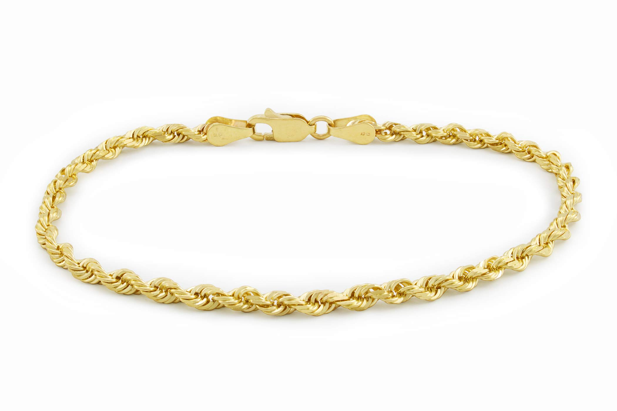 14k Yellow Gold Solid 3mm Diamond Cut Rope Chain Bracelet, 7''- 9''