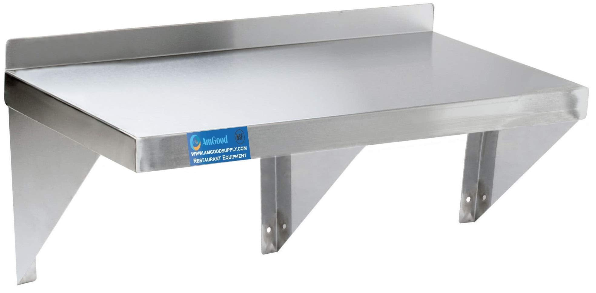 AmGood 12'' x 72'' Stainless Steel Wall Shelf | Appliance & Equipment Metal Shelving | Kitchen, Restaurant, Garage, Laundry, Utility Room | Heavy Duty | Squared Edge | NSF Certified by AmGood