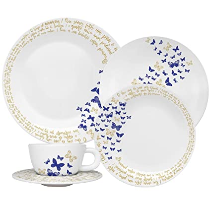 Oxford Moon Gloria 20 Piece Porcelain Dinnerware Set, White