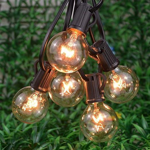 Bombillas LED 25ft luz jardín cuerda G40 vidrio Vintage Edison incandescente bombilla al aire libre decorativa Navidad patio patio backyard guirnalda US/EU: Amazon.es: Iluminación