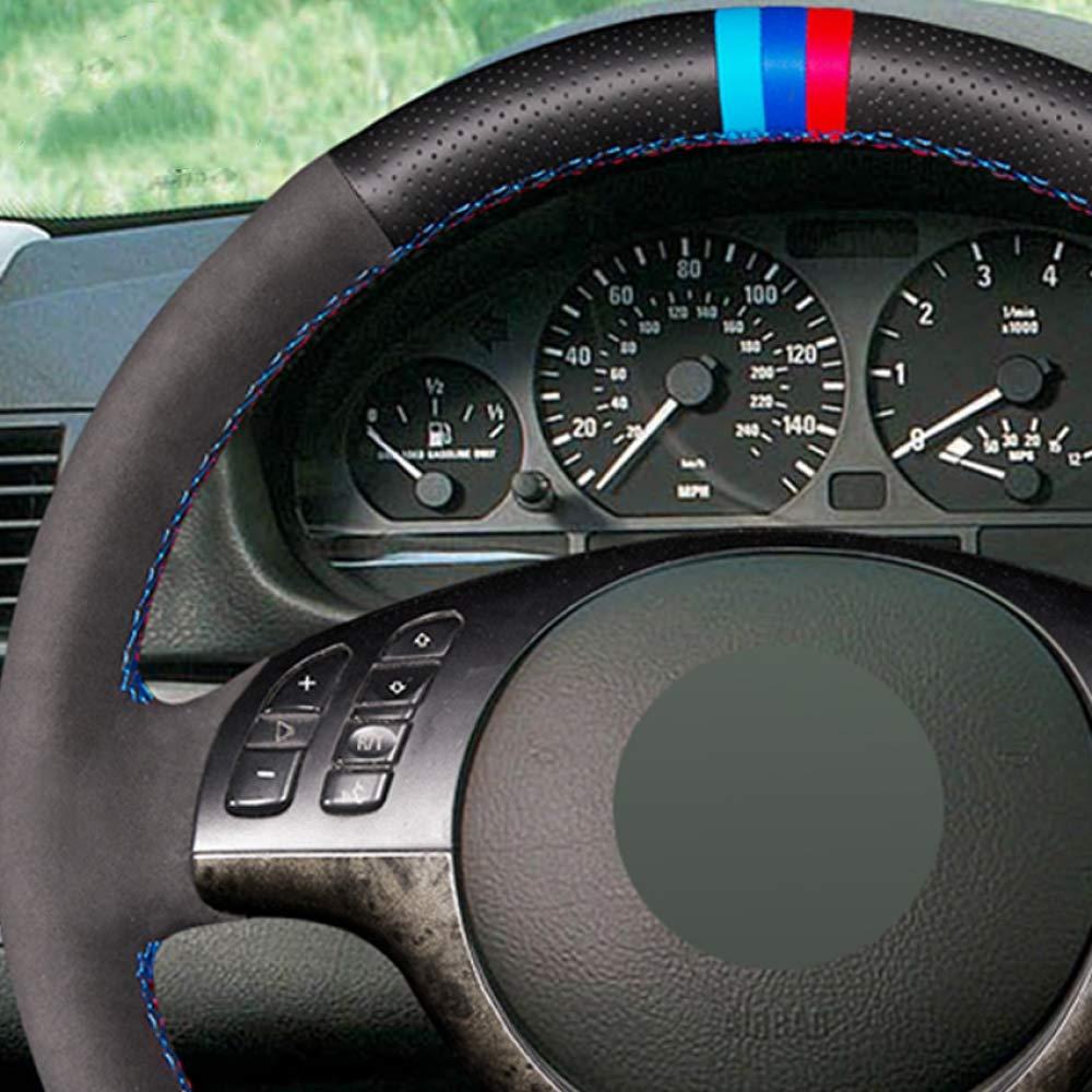HCDSWSN Cuero Genuino de Gamuza Negro DIY Cosido a Mano Cubierta del Volante del Coche para BMW E39 E46 325i E53 X5