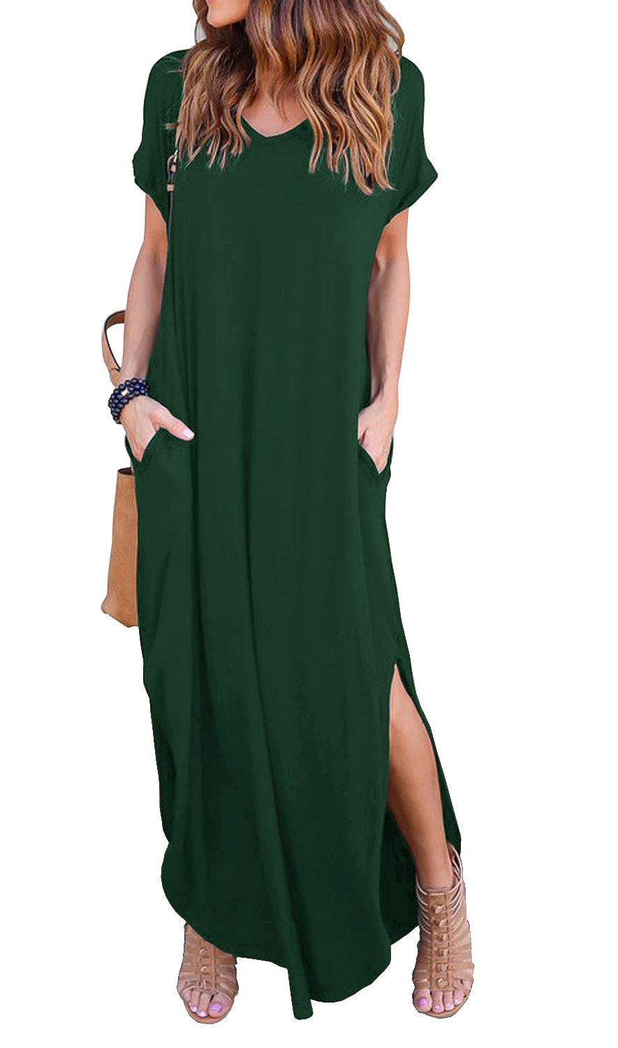 GRECERELLE Women's Casual Loose Pocket Long Dress Short Sleeve Split Maxi Dress Dark Green M