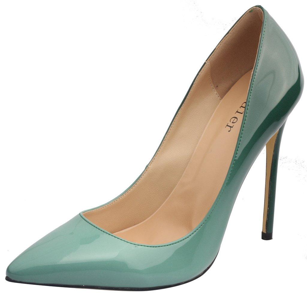Calaier Mujer Caelse Tacón De Aguja 12CM Sintético Ponerse Zapatos de tacón 42.5 EU|Degradado Verde
