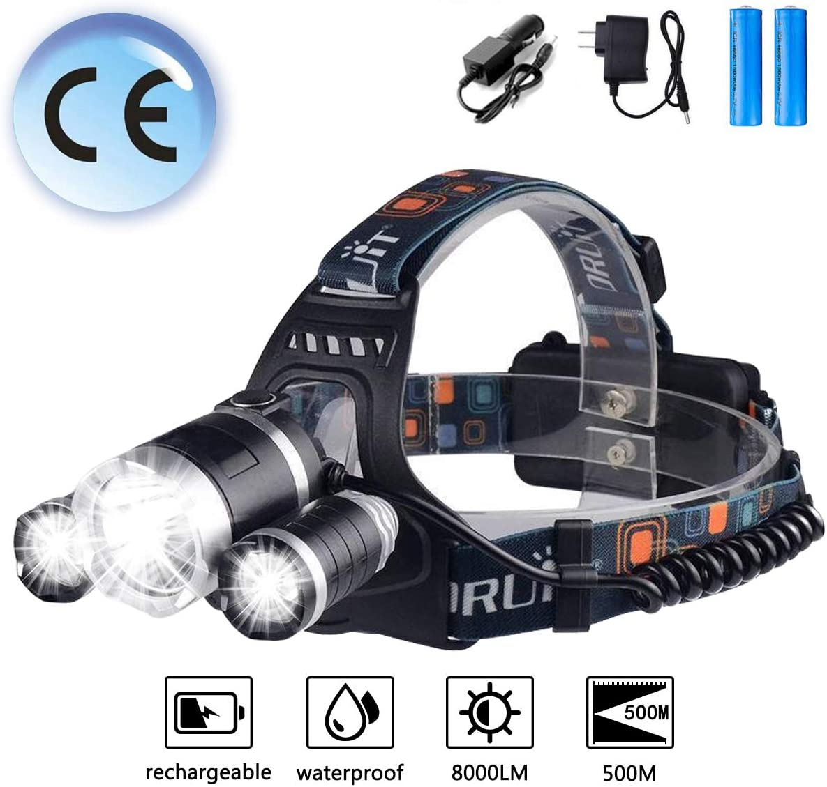 Zingiber LED Rechargeable Headlamp, 8000 Lumen Headlight, 100 Waterproof, 90 Adjustable Flashlight, Perfect Head Light for Camping, Hiking, Outdoors