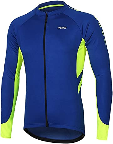 812f4e5ce ARSUXEO Men s Full Zipper Long Sleeves Cycling Jersey Bicycle MTB Bike Shirt  6030