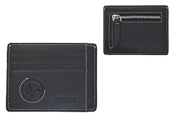 JIVANER Mini Zip: Cartera hombre o mujer de piel con monedero cremallera - Cartera minimalista negra - Tarjetero RFID bloqueo - Billetera monedero ...