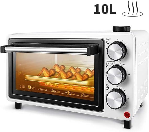 FREIHAFEN - Mini horno de 10 L con función de vapor de agua y bandeja para migas, horno para pizza, temporizador, bandeja para migas plegable, minihorno, horno pequeño, horno: Amazon.es