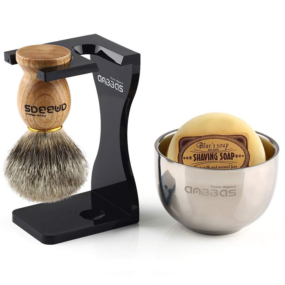 Shaving Set, Anbbas 4IN1 Pure Badger Hair Shaving Brush Solid Manchurian Ash Wood Handle,Black Broken-resistant Acrylic Shaving Stand,Stainless Steel Shaving Bowl Dia 3.2 and Goat Milk Soap 100g