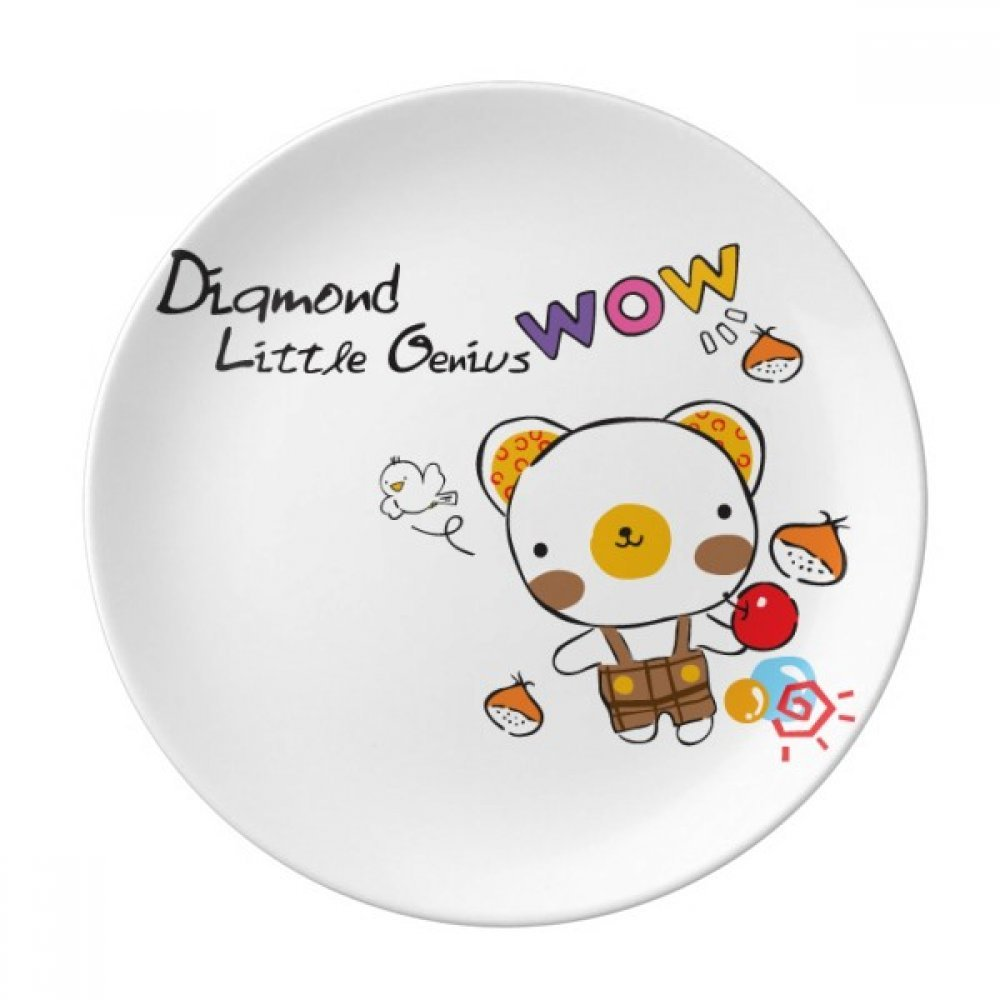 Cartoon Bear Animal Fruit Dessert Plate Decorative Porcelain 8 inch Dinner Home