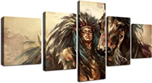 Ancient Native American Indian Chief Wall Art Vintage Historic Painting Mystic Pictures Print On Canvas for Home Decor Framed for Living Room Giclee Framed Hooks Stretched Ready to Hang(50''Wx24''H)