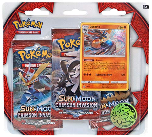 Pokemon TCG: Sun and Moon Crimson Invasion 3 Pack Booster - Lucario (New November 2017)