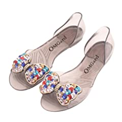 047d90bf2 Omgard Women Summer Transparent Soft Jelly Sandals Flat Crystal Bow Peep  Toe Beach Shoes - Casual Women s Shoes