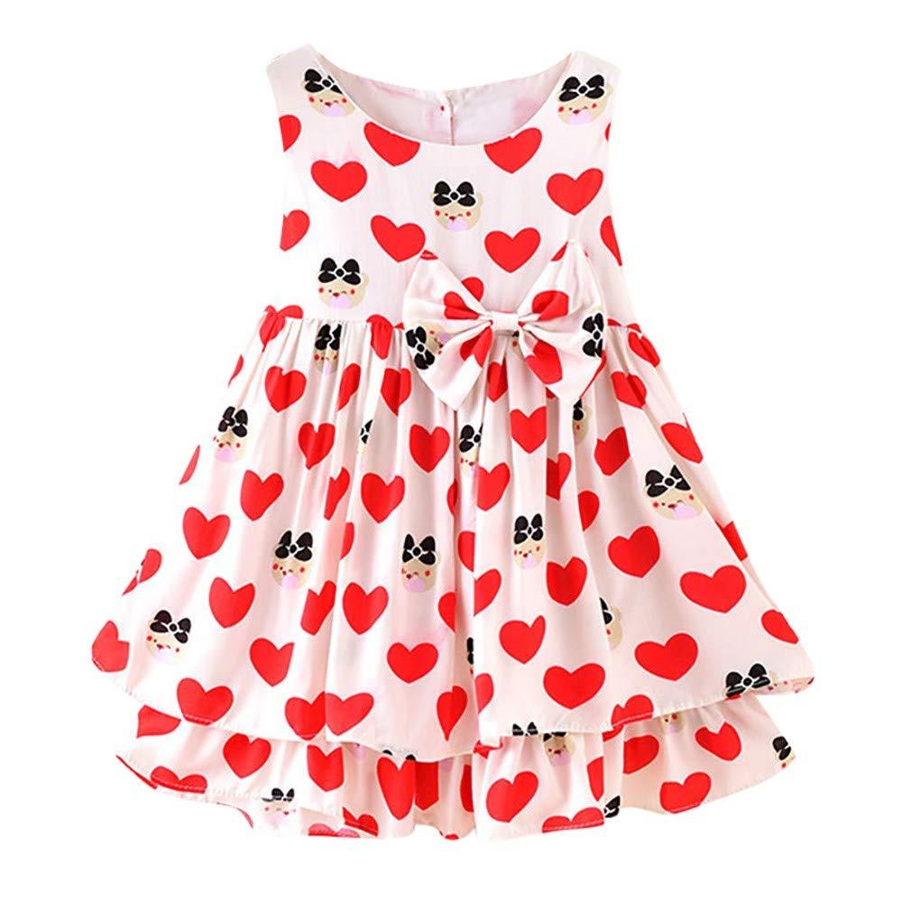 GorNorriss Baby Dress Children Kids Girls Lemon Cartoon Print Bowknot Casual Princess Dress