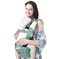 Bebamour Hipseat Baby Carrier Backpack 5 in 1 Carry Ways Carrier Sling (Light Green)