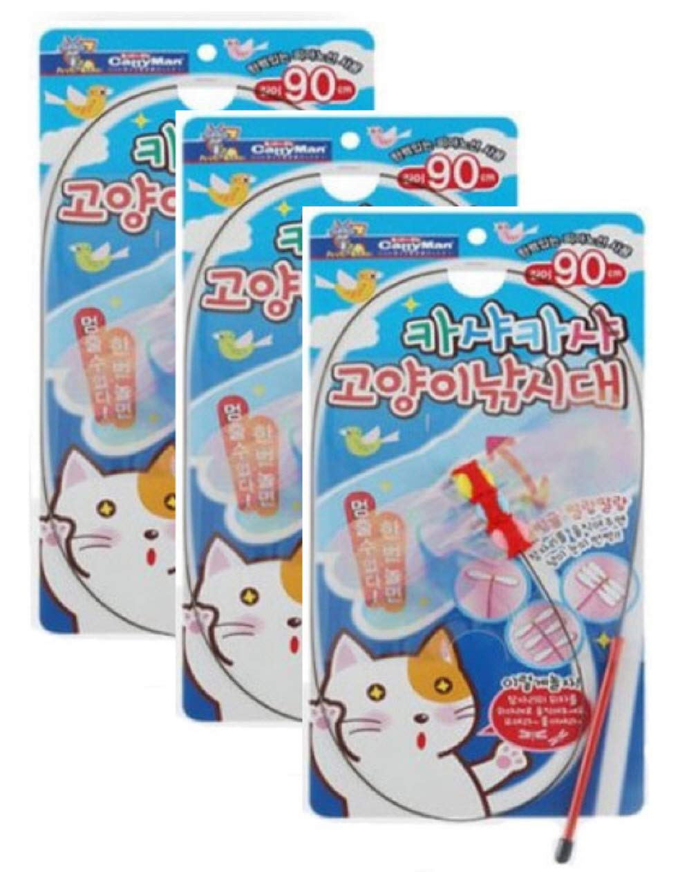 Catty Man Petz Route Cat Toy [3-Pack] KashaKasha Byonbyon Long Stick Play with a Kitten by Catty Man