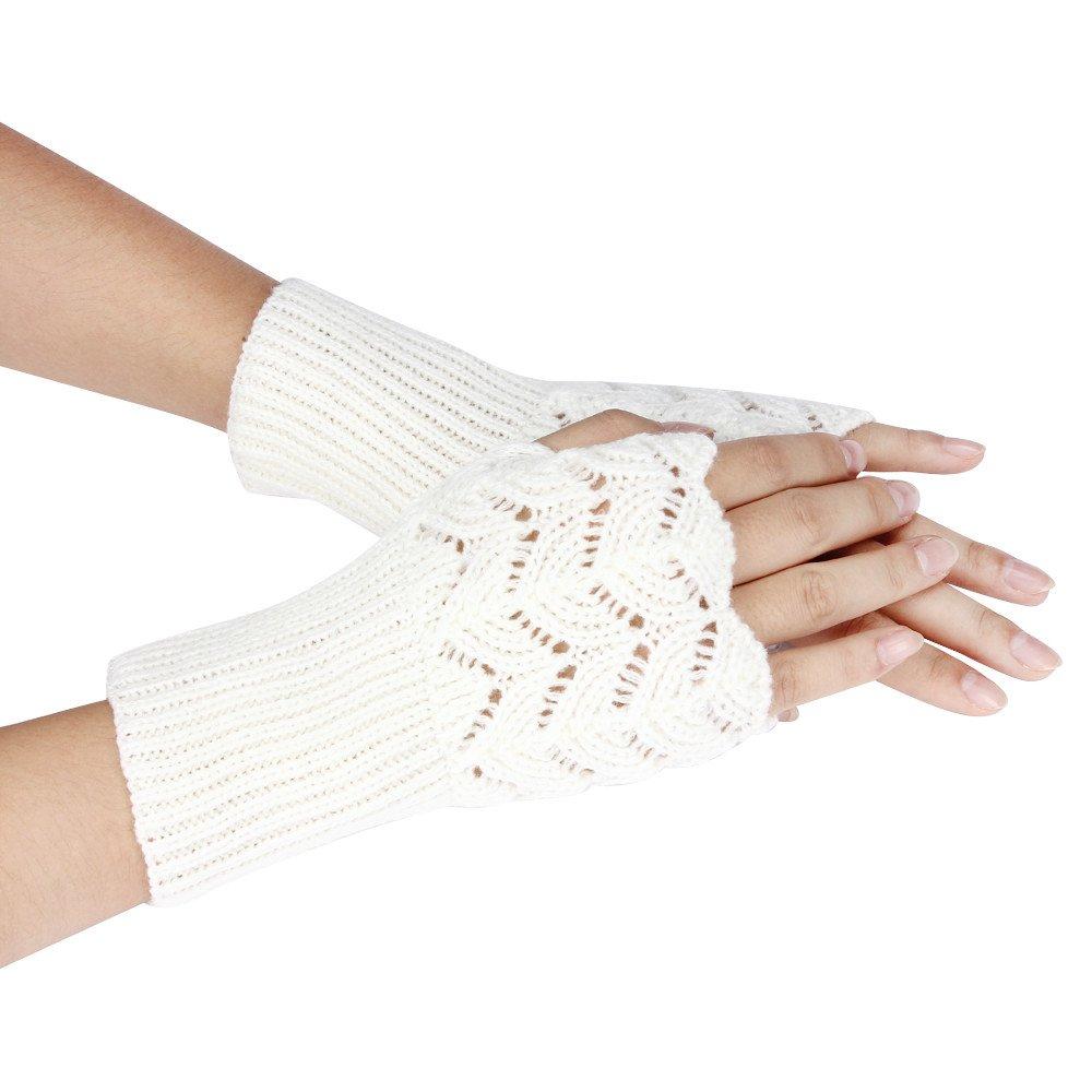 Maonet Clearance Women's Warm Winter Brief Paragraph Knitting Half Fingerless Gloves (White)
