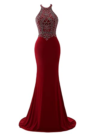 Erosebridal Sparkling Beaded Formal Gowns Halter Long Prom Evening ...
