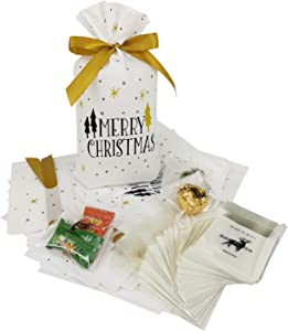 Party Favor Gift Bags Set - 25 Packs Treat Bags and 100 Mini Bags, Food Storage Wrapping Package for Bakery, Cookies, Candies Chocolate (White)