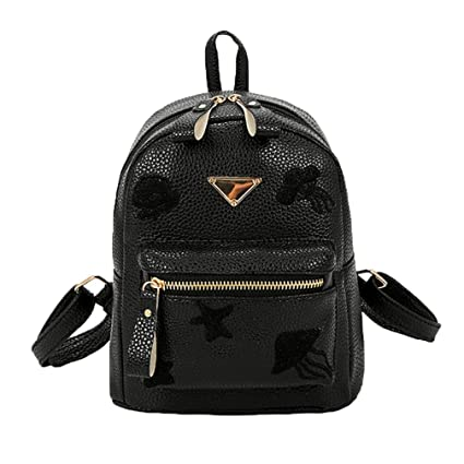 f45766f00b BCDshop Girl Cute Casual Daypack Faux Leather Fashion Mini Backpack Purse  for Women (Black)