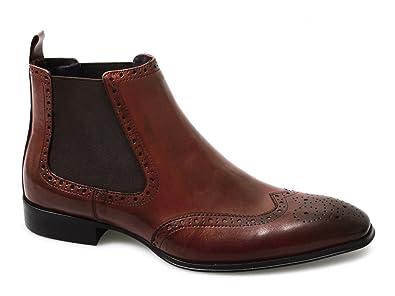 Gucinari EDWARD Mens Chelsea Gusset Brogue Boots Oxblood Red UK 6