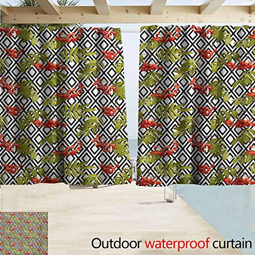 Berry Linen Shade - AndyTours Rod Pocket Top Blackout Curtains/Drapes,Rowan Geometrical Vintage Pattern with Autumn Season Berries Mountain Fruits,Outdoor Privacy Porch Curtains,W55x63L Inches,Olive Green Red Black