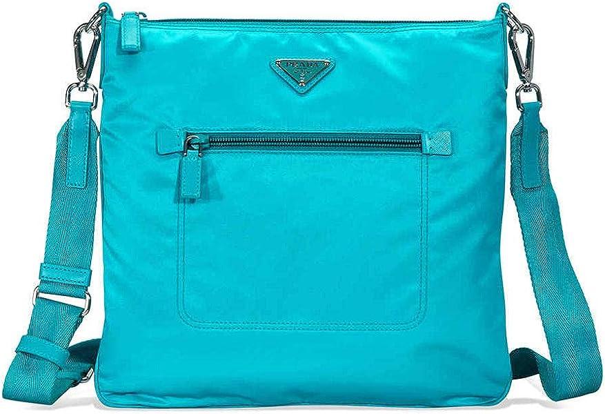 3ee88dc2 Prada Nylon and Leather Crossbody Bag- Turquoise: Handbags: Amazon.com