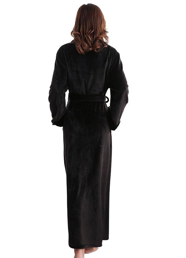 Teenloveme Womens Luxury Soft Fleece Bathrobe Dressing Gown Belted ...