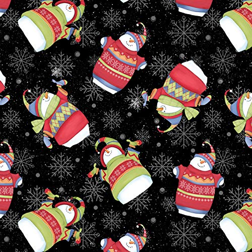 1 Yard Sweater Weather Flannel Snowmen Fabric by Shelly Comiskey from Henry Glass 100% Cotton Flannel Quilt Fabric F1320 99 Black Snowmen ()