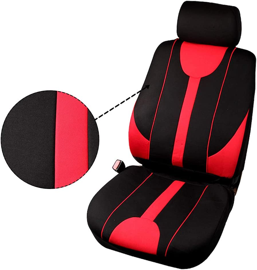 AUTOMUTO Red//Gray Full Set Seat Covers w//Steering Wheel Cover Front Rear Coverage Protection for Cars