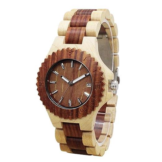 Relojes de madera hombre - Dxlta Madera Creativo Correa de madera completa, Hecho a mano, Casual Reloj de pulsera (3): Amazon.es: Relojes