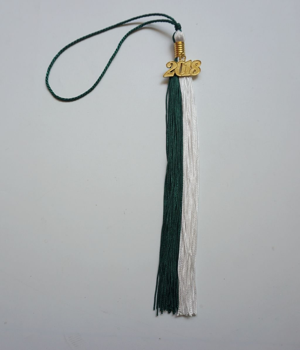 Graduation Tassel Two-Colored with 2018 Gold Year Charm Grad Day White//Green