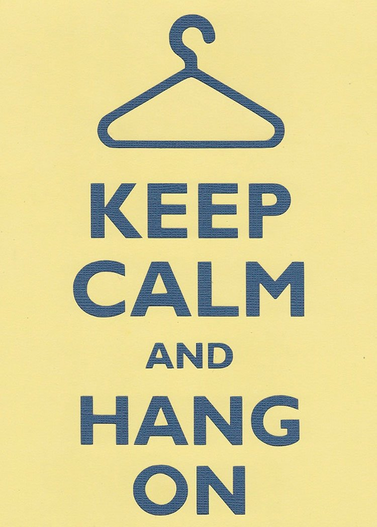 Rectangle Refrigerator Magnet Keep Calm and Hang On Clothes Hanger