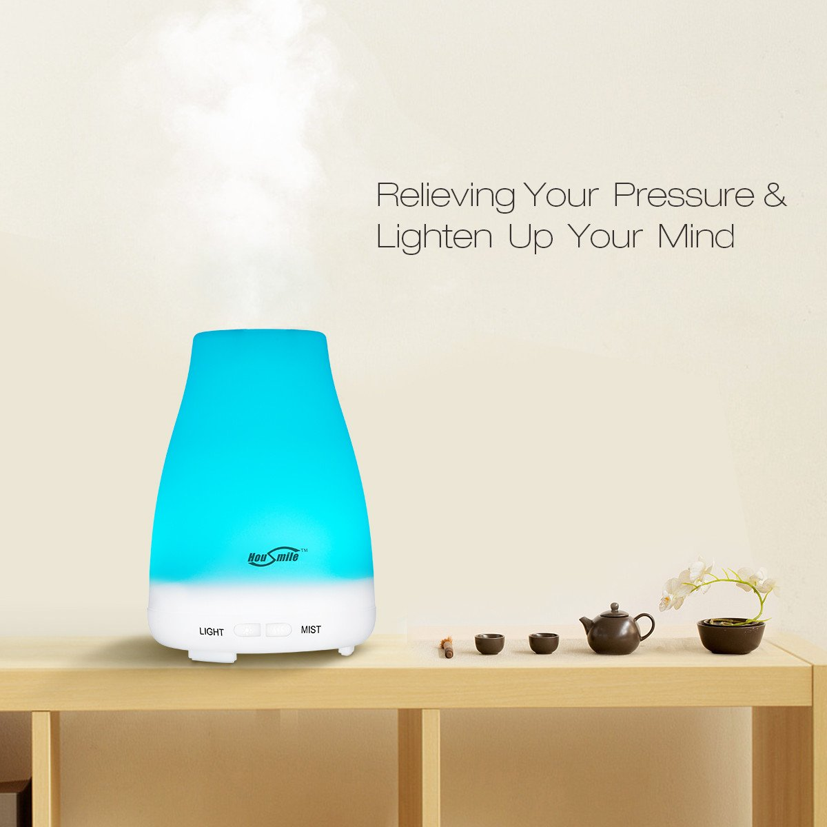 Housmile Essential Oil Diffuser, 100ml Cool Mist Aroma Humidifier for Aromatherapy with changing 7 Color LED Lights, Waterless Auto Shut-off and Adjustable Mist mode