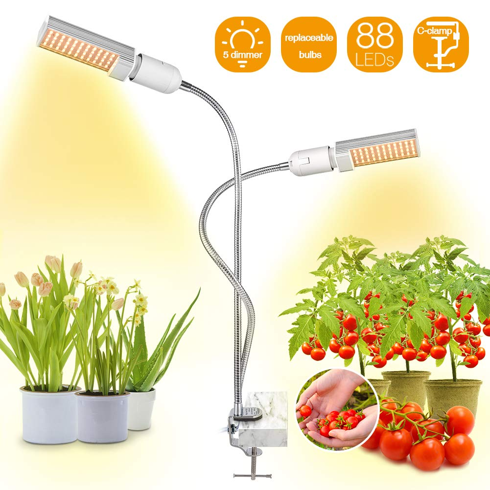Bozily LED Grow Lights for Indoor Plants Full Spectrum,45W Dimmable Sunlike Plant Lights with Replace-able Bulbs,Professional Sunlight Grow Lamp for Seeds Starting Small House Plants Seedlings Growing by Bozily