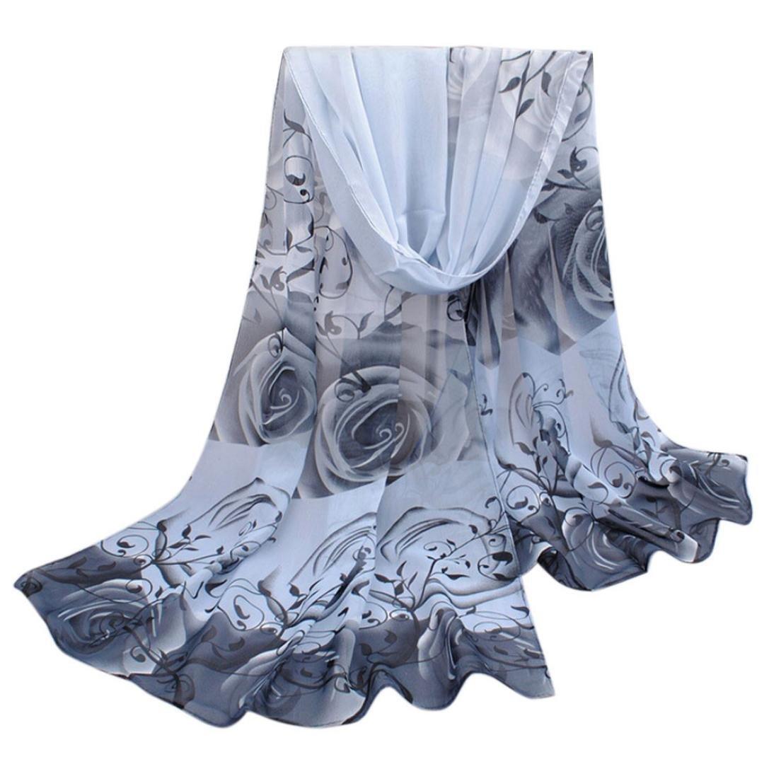Perman Fashion Women Beautiful Rose Pattern Chiffon Shawl Wrap Stole Scarf Scarves (Gray)
