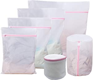 6 Pack Mesh Laundry Bags for Delicates with Zipper, Travel Storage Organize Bag, Various Sizes Clothing Wash Bags, Bra Wash Bag