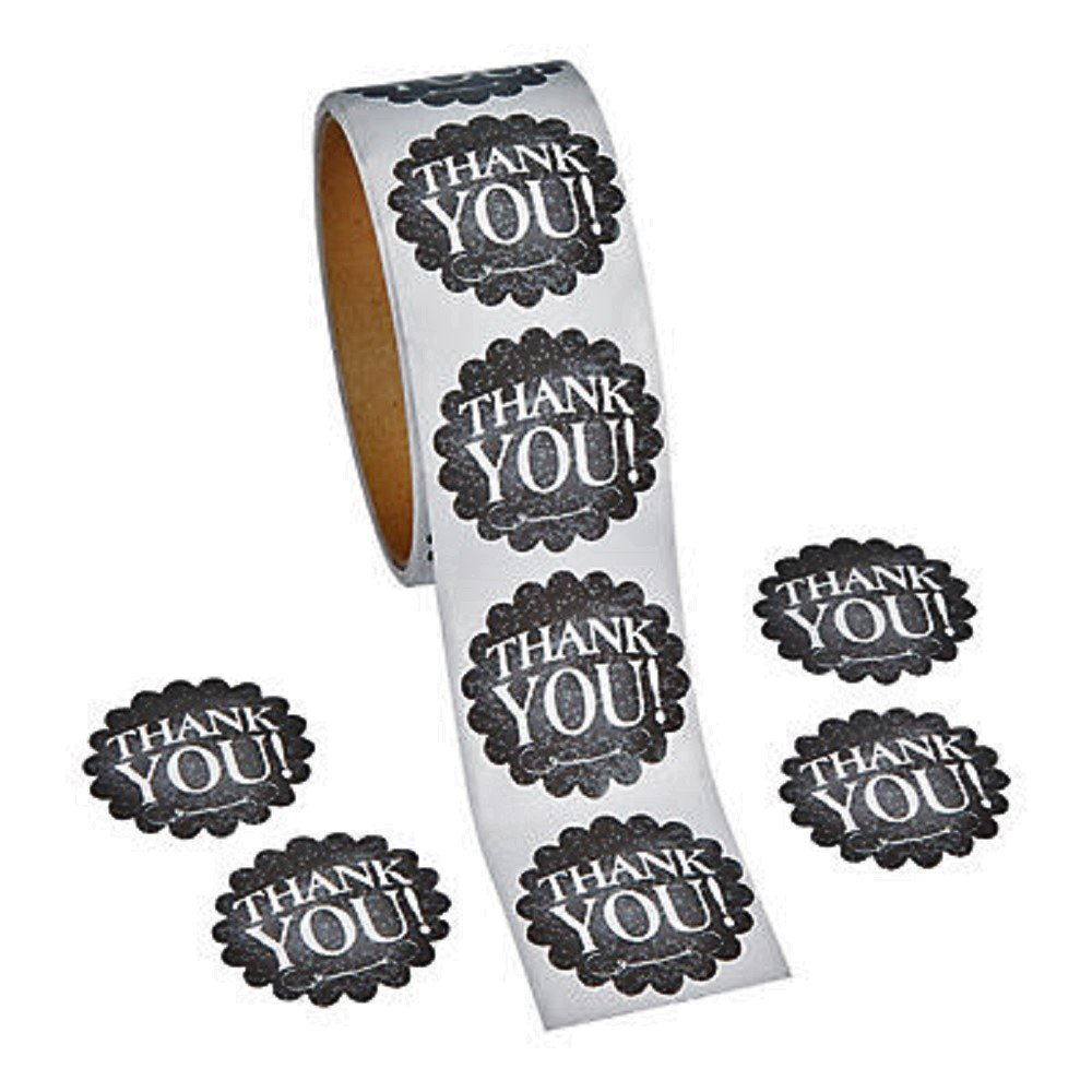 """1 Roll ~ Thank You Chalkboard Theme Stickers ~ 100 Round 1.5"""" Stickers ~ New / Shrink-wrapped"""