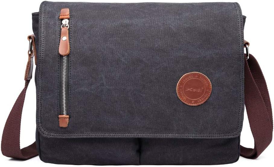 13 Inch Vintage Men's Canvas Messenger Bag Laptop Shoulder Satchel Crossbody Sling Bookbag School Bag Briefcase Laptop Bag (Black)