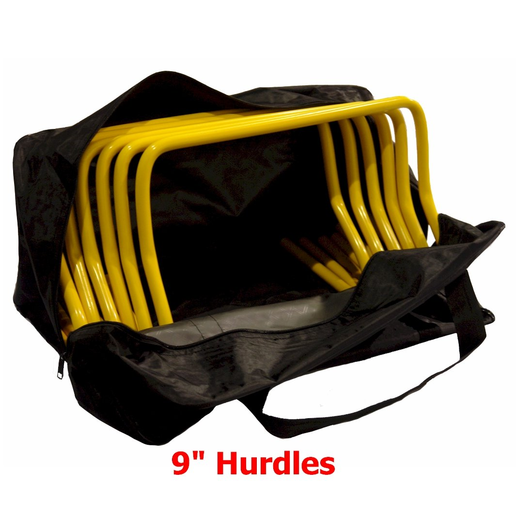 9 Inch Hurdles with Carrying Bag (Set of 6) by Workoutz