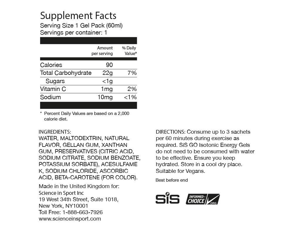 Science In Sport Energy Gel Pack Raspberry Flavor Sis Go Electrolyte Sports Performance Endurance Gels 2 Oz 30 Health Personal Care