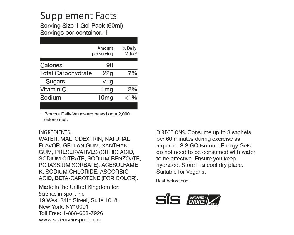 Science in Sport Energy Gel Pack, SIS Energy Gel + Caffeine, 22g Fast Acting Carbs, Performance & Endurance Gels, Double Espresso Flavor - 2 Oz. (30 Pack) by Science in Sport (Image #1)