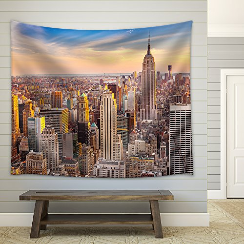 Aerial View of New York City Manhattan at Sunset Fabric Wall
