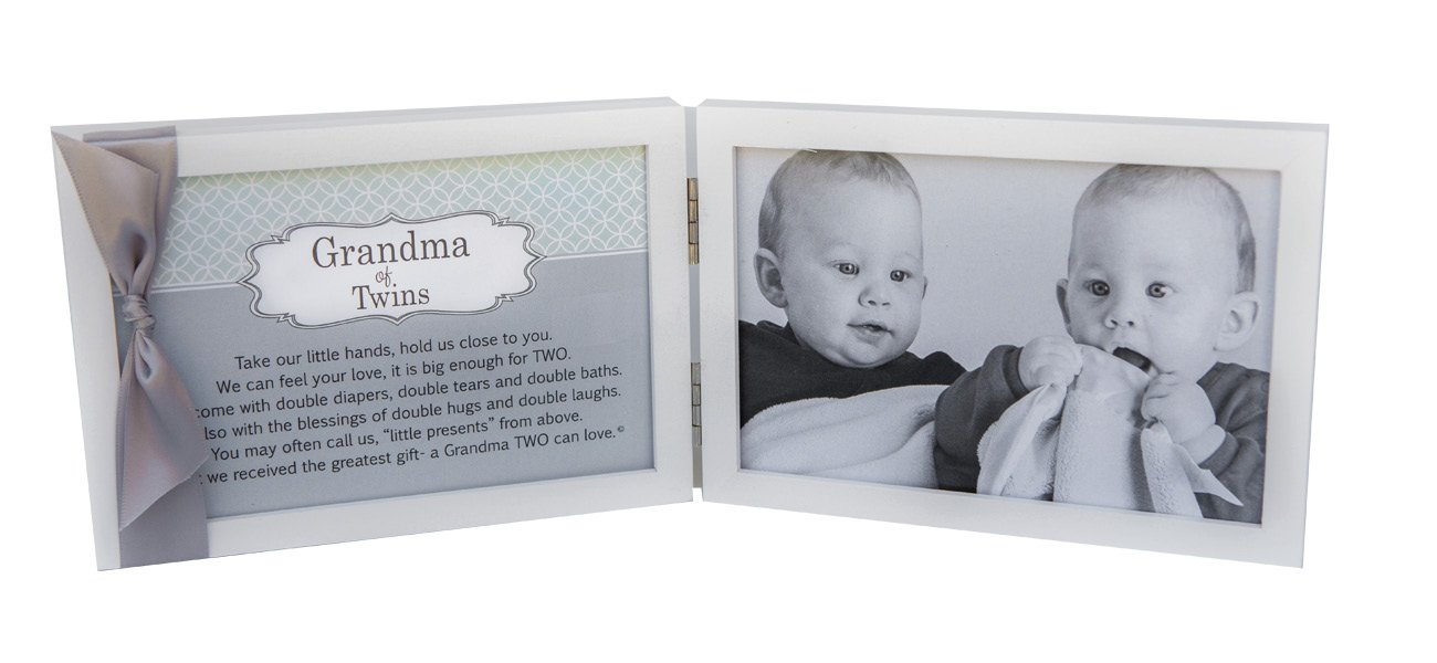 Amazon.com - Grandma of Twins Poem White Double Hinged 4 x 6 Photo ...