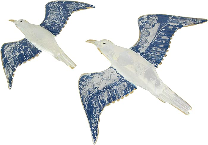 Chesapeake Bay Ltd Set of 2 Metal Flying Seagulls Wall Art Nautical Hanging Home Decor Bird Plaques