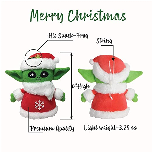 handmade Baby Yoda faux leather piggy tails perfect gift green holiday and ready to ship. red Christmas