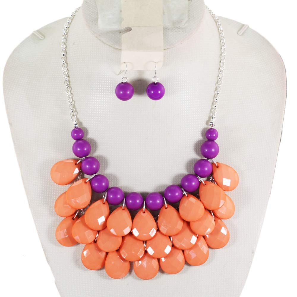 Layered Dangling Silver Tone Bubble Necklace Statement Jewelry Bib Necklace Earrings Set For Women