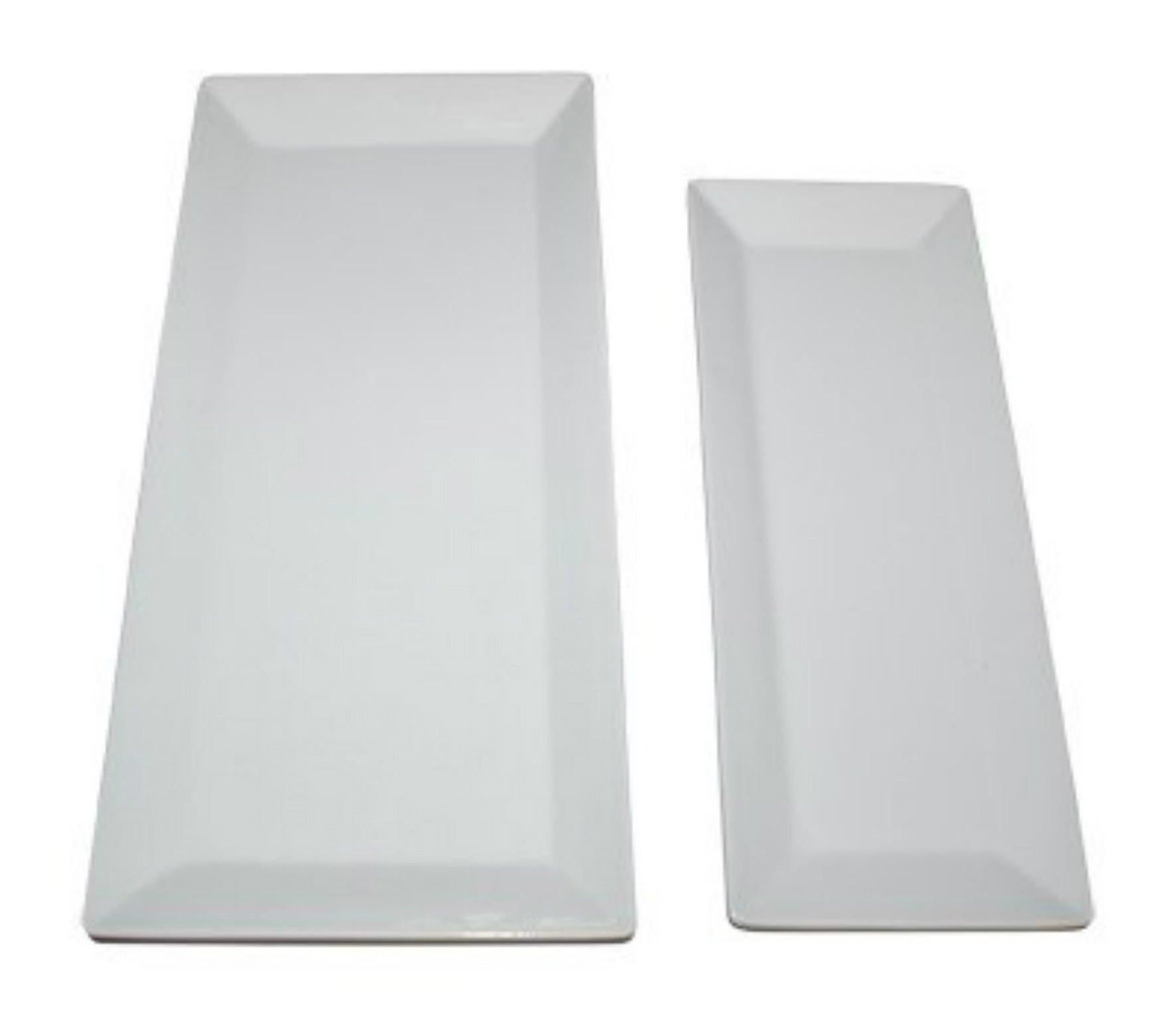 Large Rectangular Serving Platters - Set of 2 Trays, White Porcelain Ceramic Platter Sizes 15'' x 7'' and 12'' x 5''