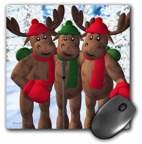 3dRose LLC 8 x 8 x 0.25 Inches Singing in the Snow Mouse Pad (mp_19366_1)