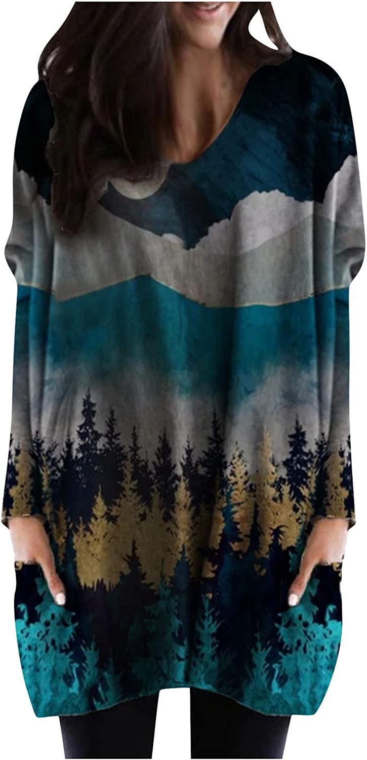 Awolf Womens Mountain Hiking Tunics with Pockets Halloween Xmas Thanksgiving Long Sleeve Tunic Tops for Leggings for Women