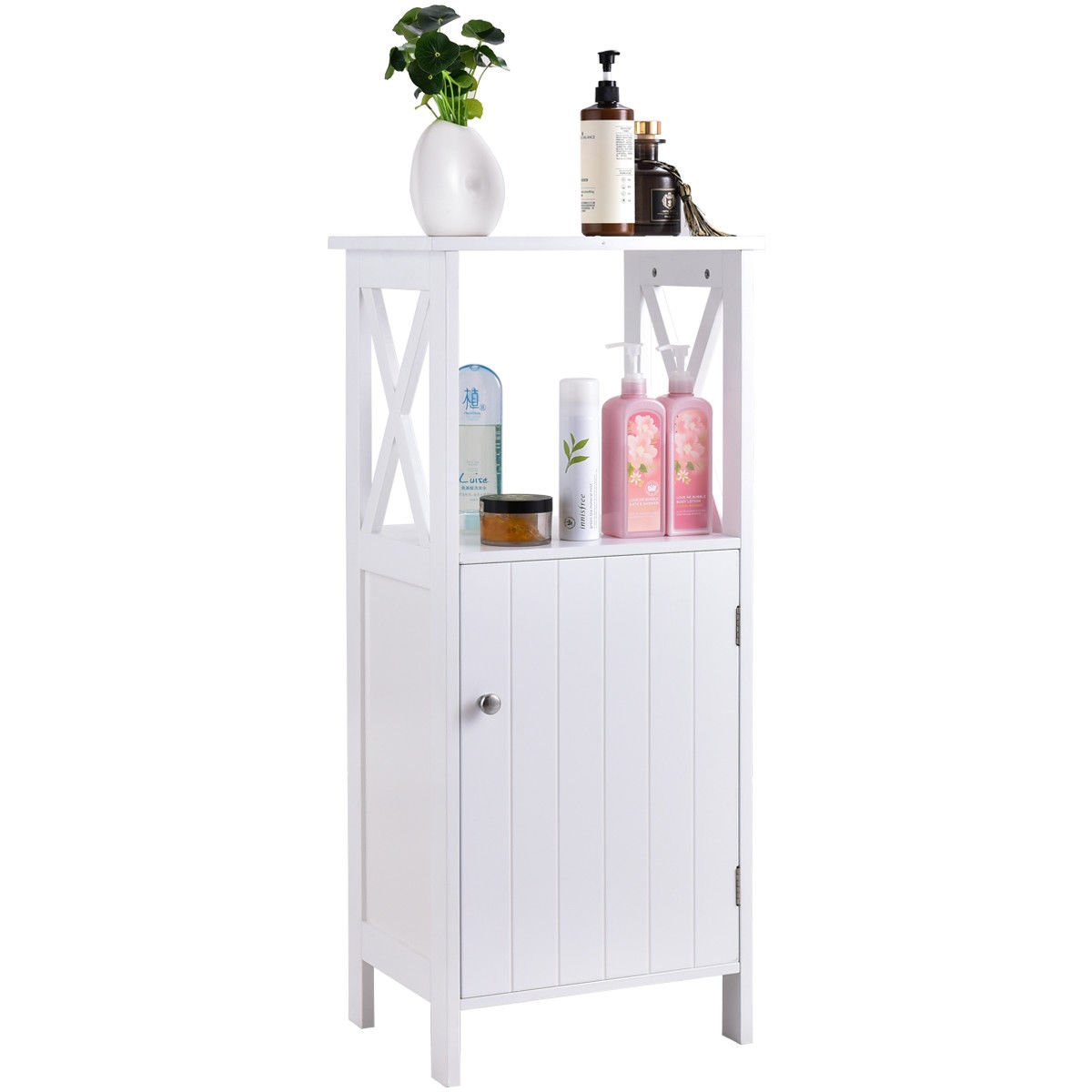 Globe House Products GHP 16''x12''x36.5'' White Pine & Wood Single Door Bathroom Storage Floor Cabinet